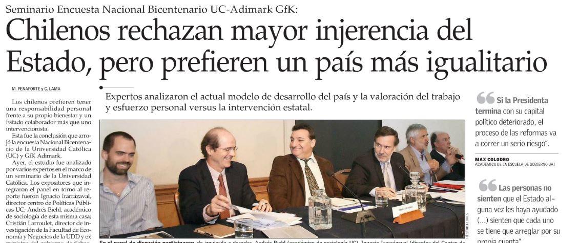 Chilenos rechazan mayor injerencia del Estado, pero prefieren un país más igualitario