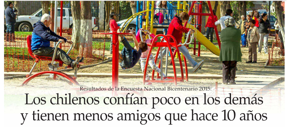 Los chilenos confían poco en los demás y tienen menos amigos que hace 10 años