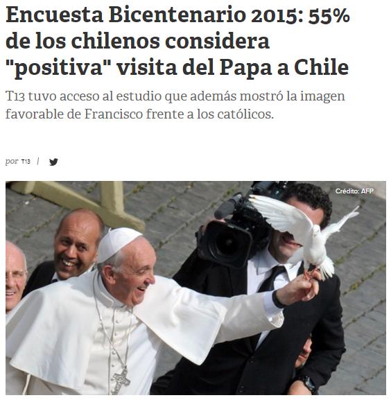"""Encuesta Bicentenario 2015: 55% de los chilenos considera """"positiva"""" visita del Papa a Chile"""