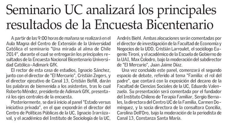 Seminario UC analizará los principales resultados de la Encuesta Bicentenario