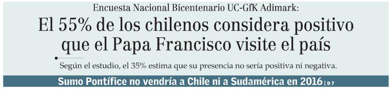 El 55% de los chilenos considera positivo que el Papa Francisco visite el país