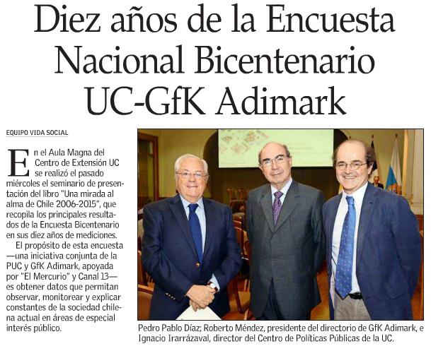 Diez años de la Encuesta Nacional Bicentenario UC-GfK Adimark