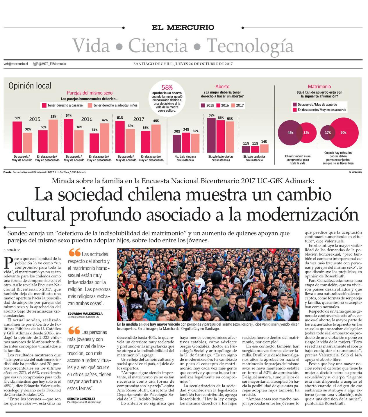 La sociedad chilena muestra un cambio cultural profundo asociado a la modernización