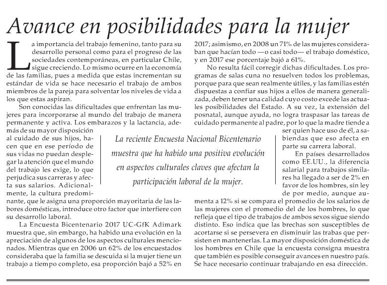 Editorial: Avances en posibilidades para la mujer