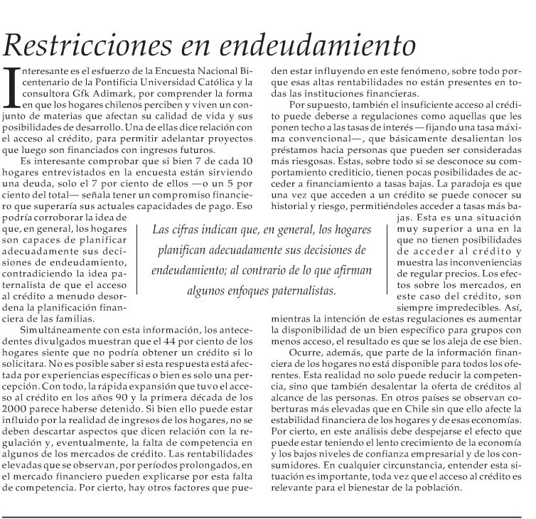 Editorial: Restricciones en endeudamiento