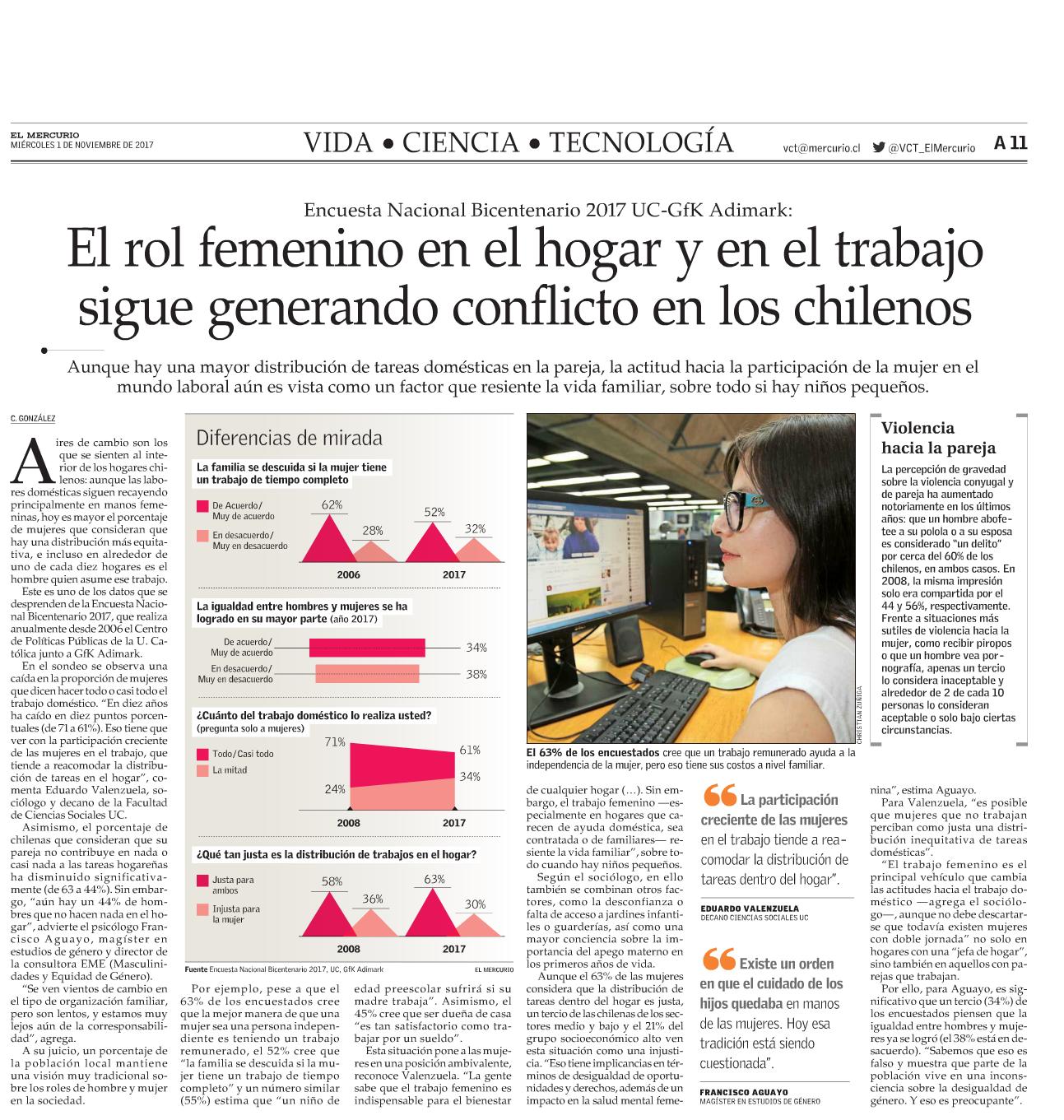 El rol femenino en el hogar y en el trabajo sigue generando conflicto en los chilenos