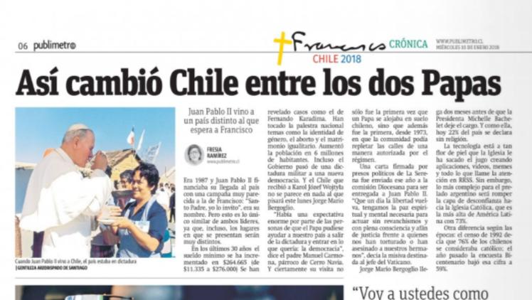 Así cambió Chile entre los dos Papas