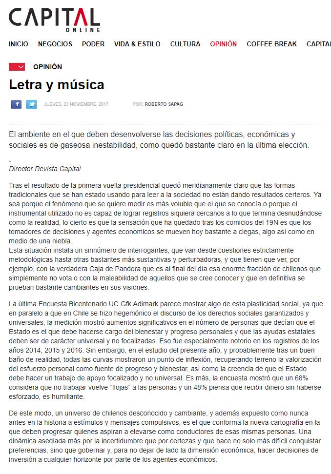 Letra y música – Opinión en Revista Capital