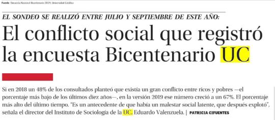 El conflicto social que registró la Encuesta Bicentenario UC