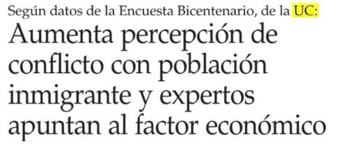 Encuesta Bicentenario UC:  Aumenta percepción de conflicto con población inmigrante