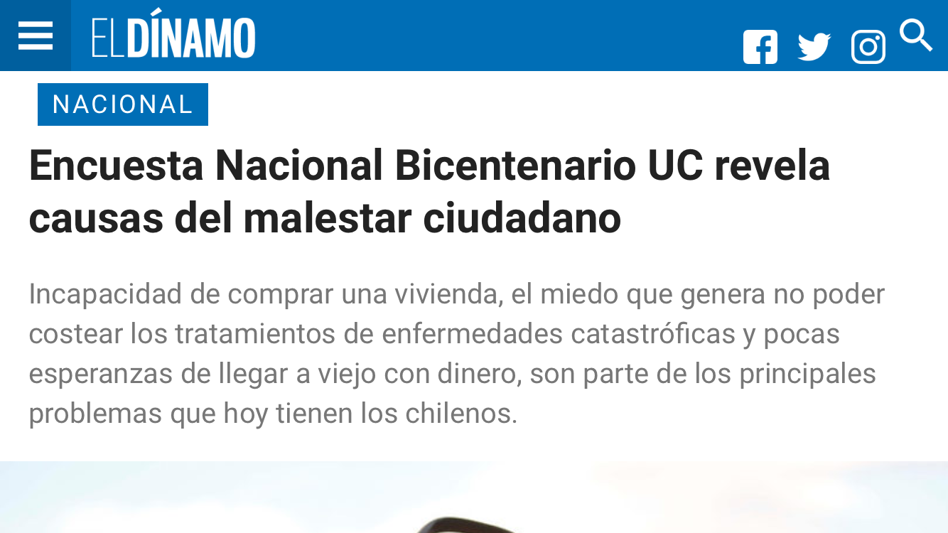 Encuesta Bicentenario UC revela causas del malestar ciudadano