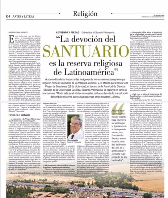 Eduardo Valenzuela se refiere a datos sobre religión de la Encuesta Bicentenario UC