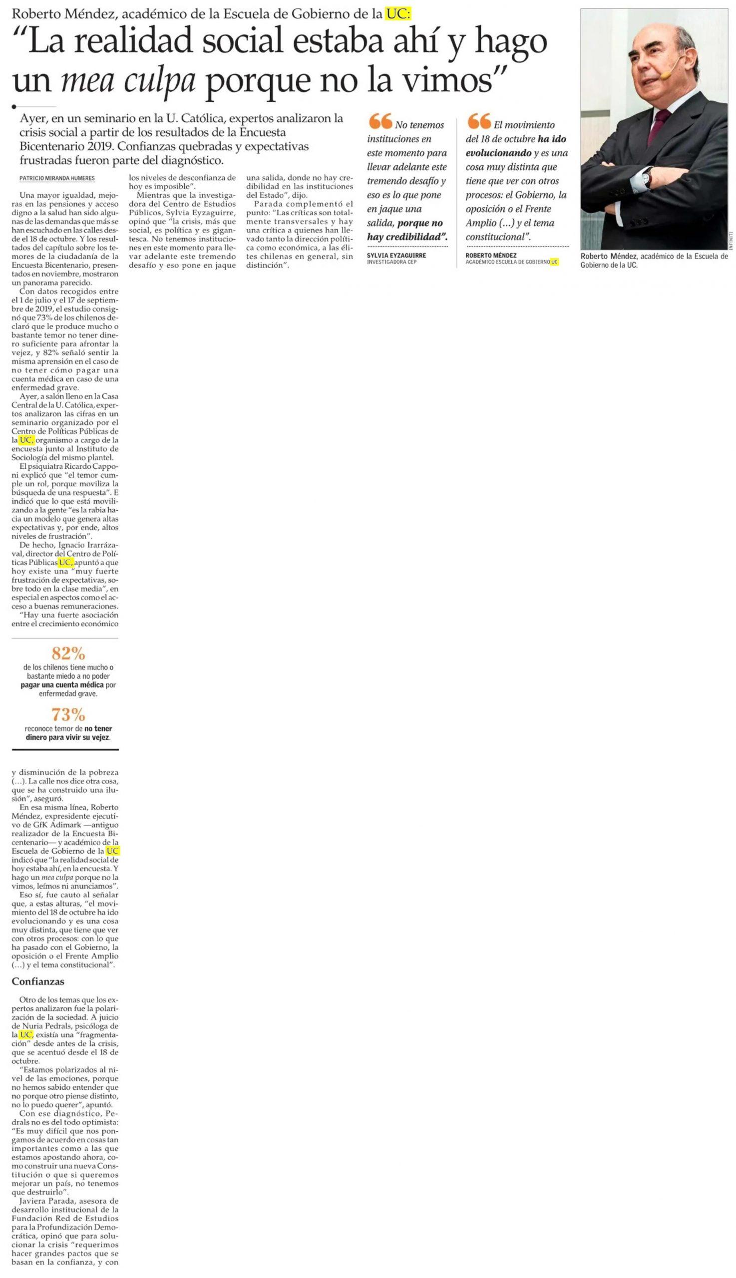 El Mercurio destaca el seminario en el que expertos analizaron los resultados de la Encuesta Bicentenario UC
