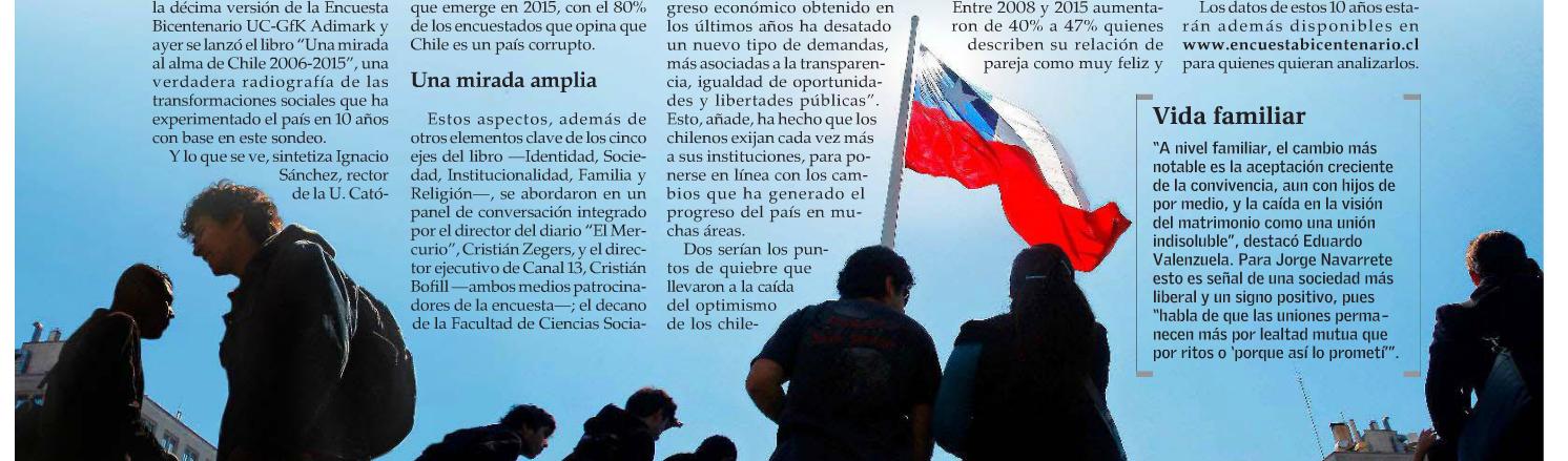 En 10 años, caen el optimismo y la confianza de los chilenos y las instituciones
